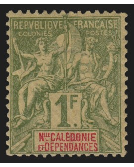 NOUVELLE-CALEDONIE n°53, 1fr olive, neuf * avec légère trace de charnière - TB