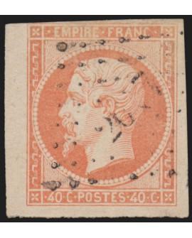 n°16 bord de feuille, Napoléon 40c orange, oblitéré - SUPERBE
