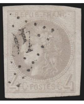 n°41B, Cérès Bordeaux 1870, 4c gris, Report 2, oblitéré - signé CALVES - TB