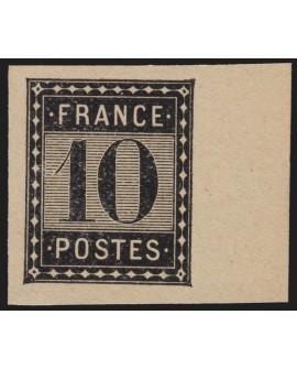 Essai Imprimerie Nationale 1875, 10c noir bord de feuille - SUPERBE