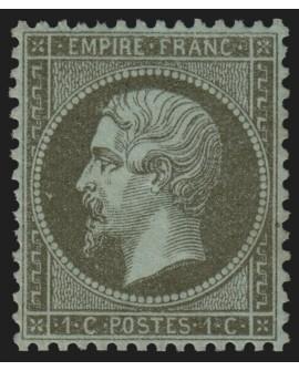 n°19a, Napoléon 1c VERT-BRONZE, neuf * trace de charnière - SUPERBE CENTRAGE