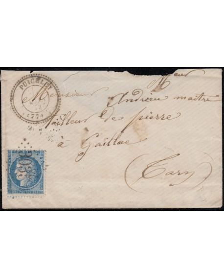 n°60A, oblitéré GC 3035 PUICELCY Tarn sur lettre pour Gaillac du Tarn 1873