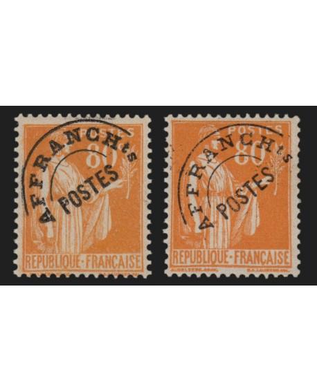 Préoblitérés n°75 variété surcharge grasse + fine, Paix 80c orange, neuf **/*