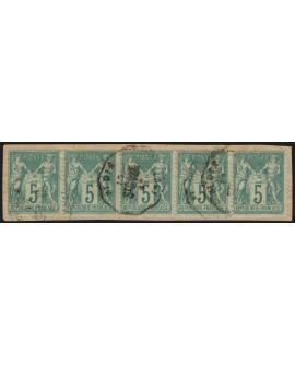 n°64 bande de 5, 5c vert, Type I, oblitéré càd convoyeur ST-DIE - TB