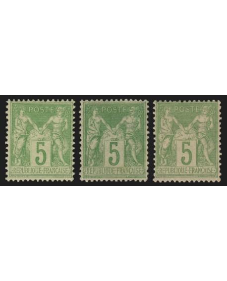 n°102 x3 nuances de couleurs, Sage 5c vert-jaune, Type I, neuf * - TB