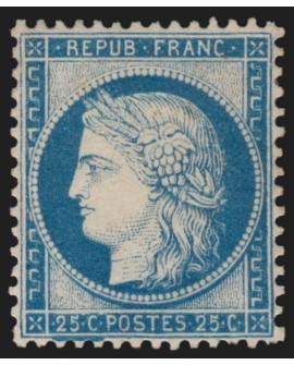 n°60A, Cérès 25c bleu, Type I, neuf * - SUPERBE - signé SCHELLER