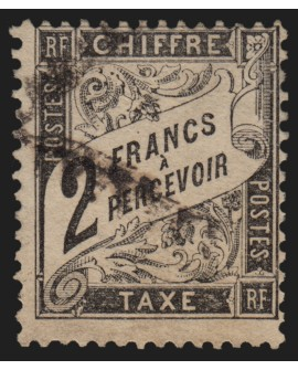 Timbres-Taxe n°23, type Duval 2fr noir, oblitéré - TB