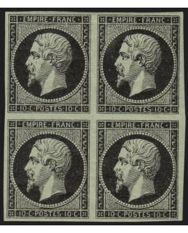 n°13A, essai de couleurs, 10c noir sur vert, Type I, neuf * avec gomme - TB
