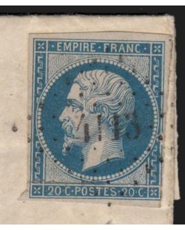 n°14A, oblitéré losange PC 4113 SAUZET Drôme lettre pou Livron, indice 18 - TB