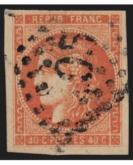 n°48d, Cérès Bordeaux, 40c ROUGE-SANG-CLAIR, oblitéré - TB