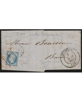 n°14A, oblitéré PC 2616 càd Type13 QUINTIN Côtes du Nord sur lettre 1855 - TB