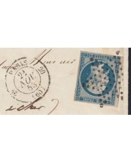 n°10, oblitéré étoile sur lettre pour Moisy, au verso 2 cachets cursive - TB