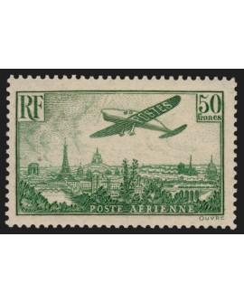 Poste Aérienne n°14, 50fr vert-jaune, neuf ** sans charnière, signé CALVES - TB