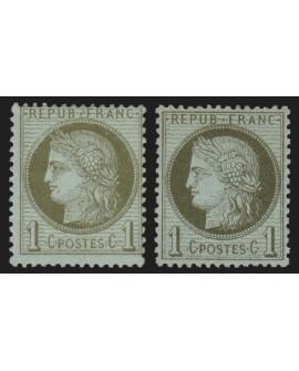 n°50/50a, les 2 nuances, vert-olive et vert-bronze, neufs * - TB
