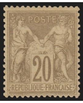 n°67, Sage 20c brun-lilas nuance très pâle, Type I, neuf * - TB
