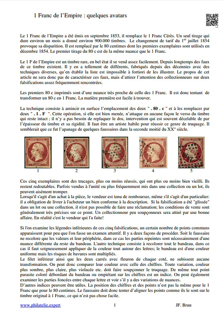 France Yvert n°18, Napoléon 1 Franc de l'Empire : quelques avatars