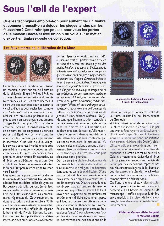 Les faux timbres de la libération de La Mure
