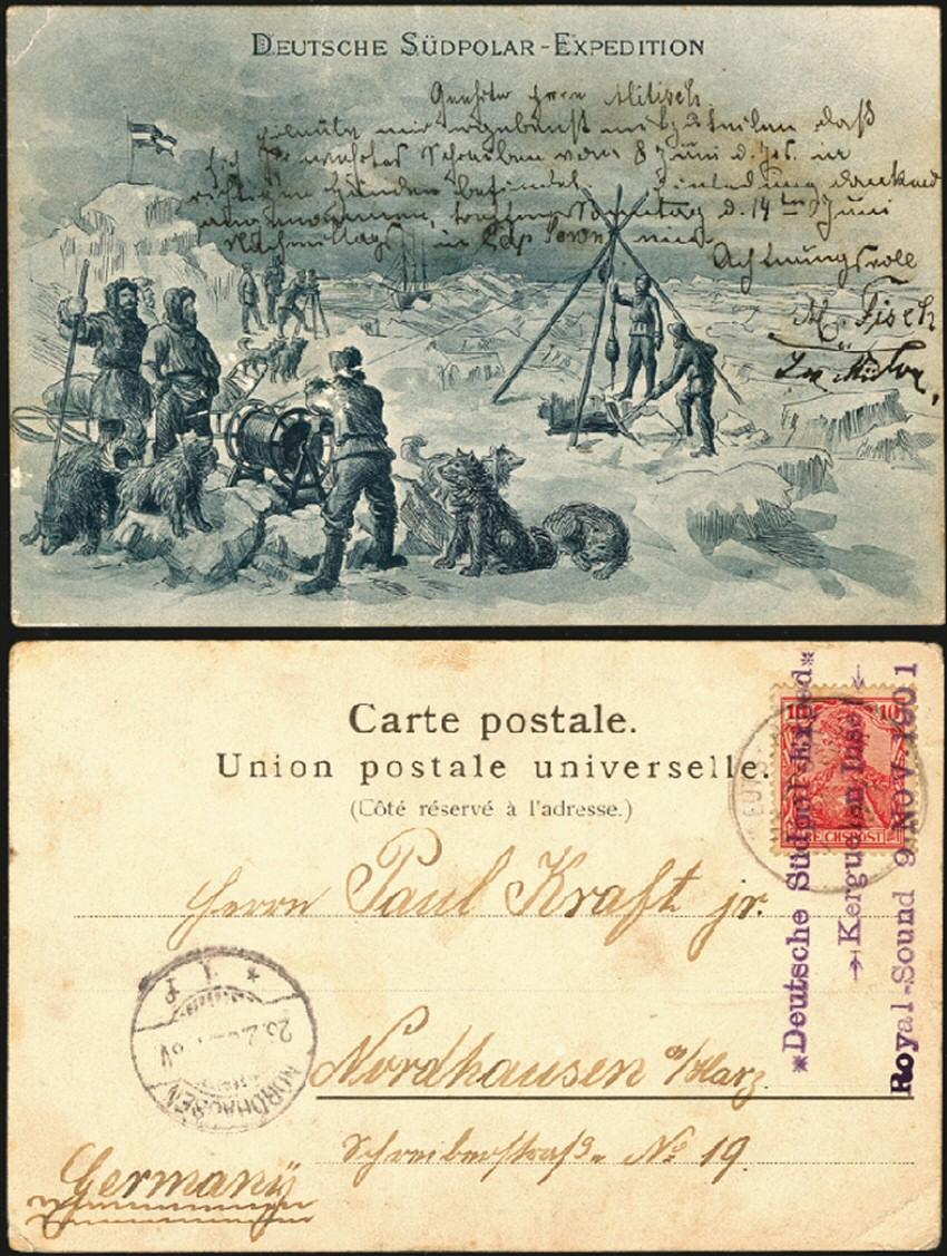 Une carte postale des Kerguelen transportée par le « Gauss » en 1901. DR/Harmer