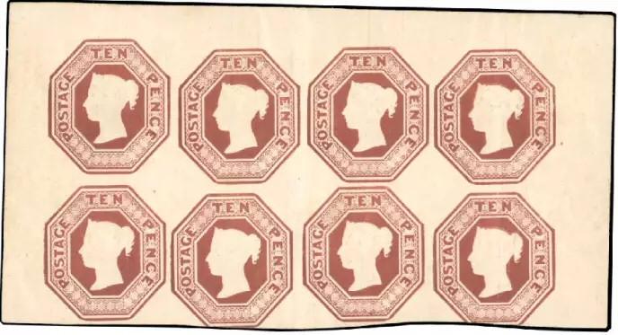 Chez Behr, ce bloc de huit timbres de 1854 a atteint les 170.322 euros.