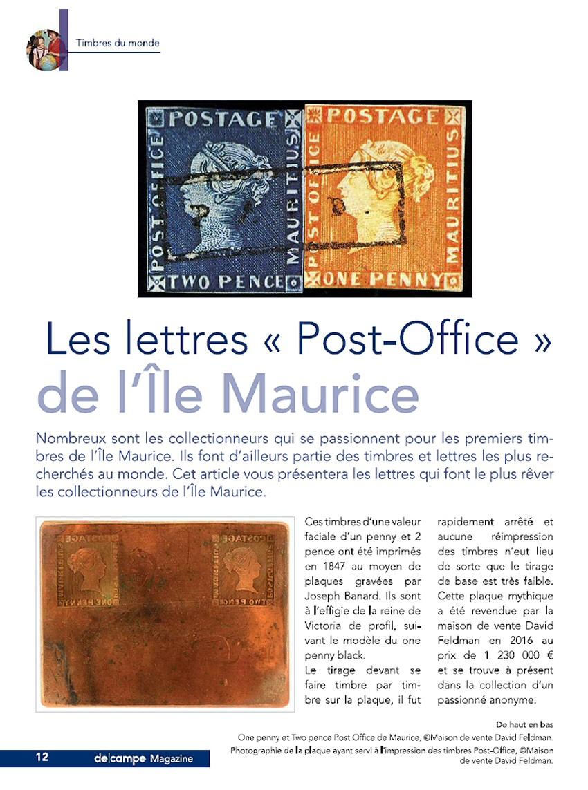 """Les lettres """"Post-Office"""" de l'Île Maurice"""